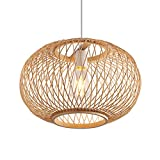 LITFAD Bamboo Globe Pendant Lighting Asian Style 19.5' Wide 1 Light Hanging Ceiling Lamp in Wood Beige Ceiling Fixture with Adjustable Cord for Dining Room Living Room Restaurant