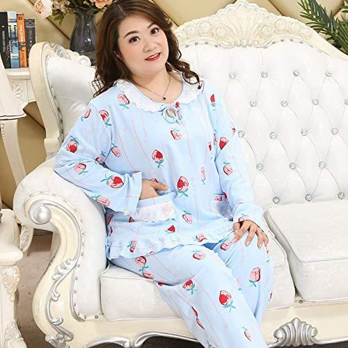 Handaxian Damen-Langarm-Baumwoll-Pyjama mit Kapuze Fat MM XL Home-Service-Anzug