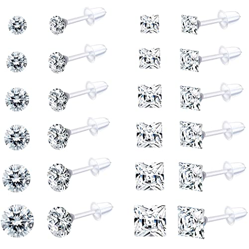EIELO 12Pairs Clear Plastic CZ Studs Earrings for Women Men Acrylic Post Hypoallergenic Stud Earring Round Square CZ Rhinestone Ear Studs Piercing Retainers