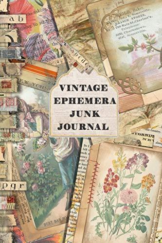 Vintage Ephemera Junk journal: Full colour slimline paperback journalling book for creating your own sketchbooks - Emphera elements for decoupage, ... or scrap books (Creative junk journalling)