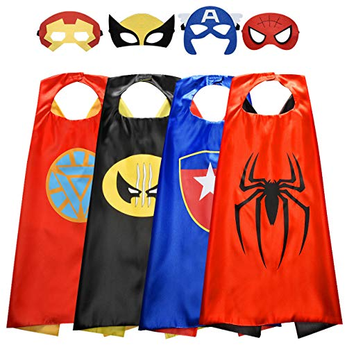 Roko Gifts for 3-10 Year Old Girls, Superheros Toys for Girls Superhero Cape Girl Kids Dress up for Girls Birthday Gifts for Girls Cartoon Cape Mask Toddler Superhero Capes RKUSGSC04