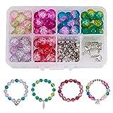 SUNNYCLUE 1Box (über 245pcs) 10mm Handarbeit Crackle Lampwork Glas Rund Beads Sortiment Lot mit...