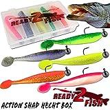 Ready2Fish Action Shad mit Box Gummifisch Set mit Box Kunstköder Angelköder (Hecht / 15cm)