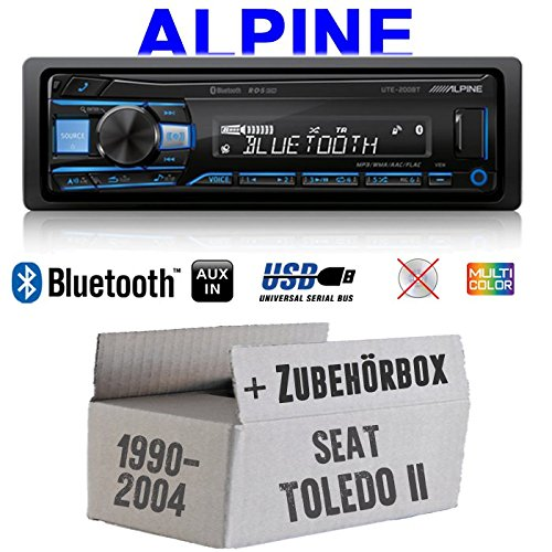 Autoradio Radio Alpine UTE-200BT Bluetooth USB MP3 | 1-DIN PKW KFZ 12V Einbauzubehör - Einbauset für Seat Toledo 2 1M - JUST SOUND best choice for caraudio