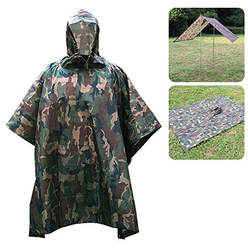 lkn-multifunction 3en 1impermeable militar camuflaje lluvia Poncho impermeable, utilizado como camping tienda de campaña de lluvia Picnic Mat, Comouflage green