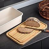 Minuma® Brotkasten Brotbox aus Bambusfaser mit integriertem Bambusschneidebrett als Deckel (lebensmittelecht) | dunkelgrau - 7