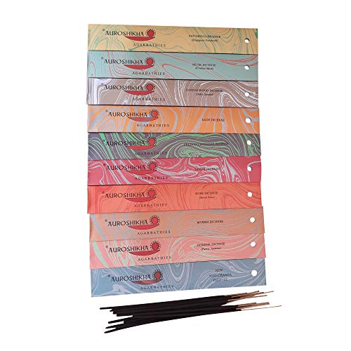 Auroshikha - 100 Varillas de Incienso - Paquete de 10 Cajas: pachulí, Salvia, nag Champa, jazmín,...