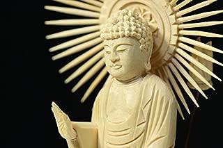 Buddha-Amitabha Standing Statue Plain Wood Round Pedestal East Type (10.2 H x 4.7 W x 3.7 D inches)