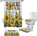 Badmat Set 4 Stuk, Bloemen Bloem Vlinder Hout Douchegordijn Tapijt Cover WC Cover Badmat Mat Set Badkamer Gordijn Woondecoratie