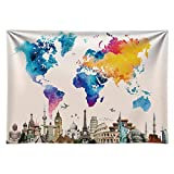 Funnytree 7X5FT Durable Fabric World Travel Map...