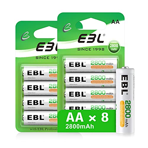 EBL AA Rechargeable Batteries (Retail Package), 1.2V 2800mAh AA Battery, 8...