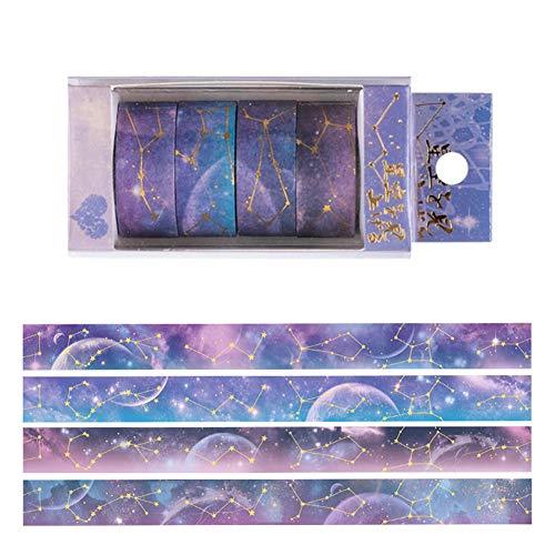 GLITZFAS 4er Set Washi Tape, Sternenhimmel Sternbild Masking Tape Klebebänder Set Dekoband für DIY Scrapbooking (Lila Sternenhimmel)