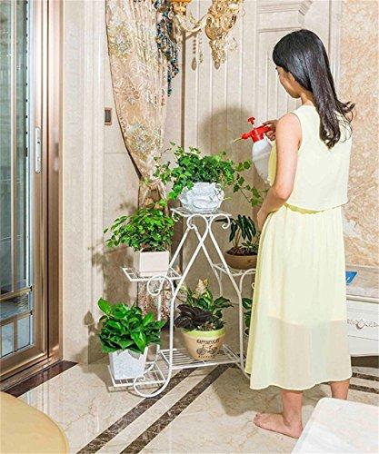 Porte-fleurs, porte-fleurs Fleur Rack / Fer Multi-étages Multi-usages Flower Pot Rack / Balcon Salon Intérieur Vert Laqué Bleu Flower Rack / Ground Bois Flower Shelf Balcon, support de fleurs en plein air ( Couleur : Blanc , taille : 80cm )