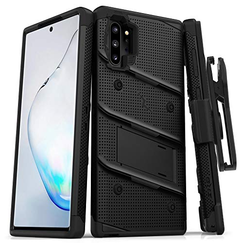 ZIZO Bolt Series for Samsung Galaxy Note 10 Plus Case | Heavy-Duty Military-Grade Drop Protection w/Kickstand Included Belt Clip Holster Lanyard (Black/Black)