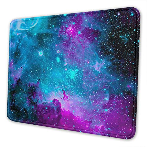 Mouse Pad Blue Purple Nebula Non-Slip Rubber Base with Stitched Edges Mouse Pads for Computers Laptop Gaming Office Home 10 x 12 inch