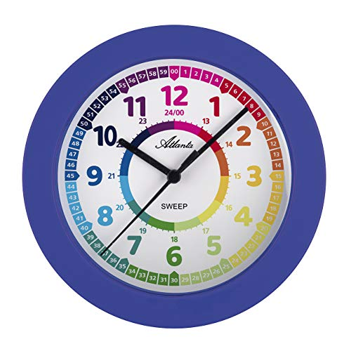 Reloj de pared sin tic tac, para niños, color azul - 4483-5