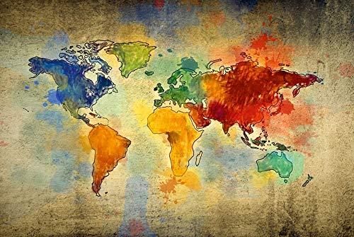 Homemania Quadro Mappamondo Multicolore, in Tela 100% Cotone, Cornice in Legno. Decorazione Arte Casa Decoro. per Soggiorno, Ufficio, Muro, Planisfero, Taglia Unica