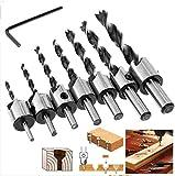 7-Teilig Holzbohrer inkl. Senker/Ansenker für Holz Bohrer Set 3mm bis 10mm inkl. Imbus-Schlüssel