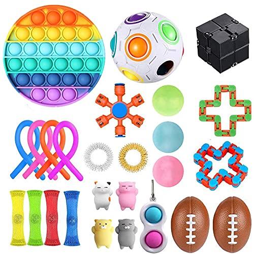 CUIFULI Juego de 26 juguetes sensoriales, alivia el estrés y la ansiedad, juguetes fidget seguros no tóxicos, cubo Fidget y anillo para mejorar la atención y el enfoque