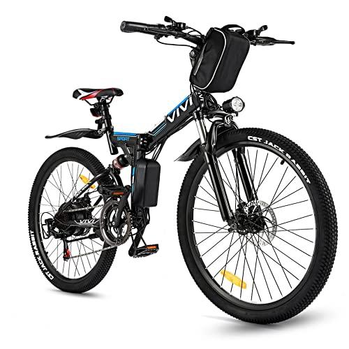 VIVI EBike Klapprad 26 Zoll Mountainbike Pedelec mit 350W Motor, 36V 8Ah Lithium-Ionen Akk 21 Gang Pedelec Elektrofahrrad Klapp für Herren und Damen (26 Zoll-Schwarz)