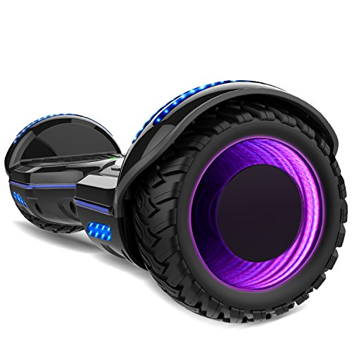 Gyrocopters 8FINITI All Terrain Hoverboard with Mirror LED Wheels, APP, Carry Case, Bluetooth, No Fall Technology and UL2272 Certified – Black (New Version)