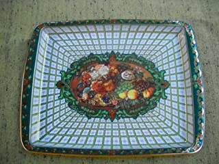 Daher Decorated Ware Rectangle Serving (18x13 Inch Tin Tray- England, English Flower Motife)