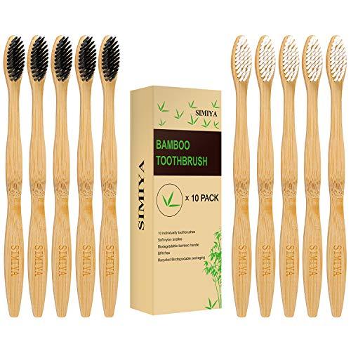 SIMIYA Bambus Zahnbürsten, 10er Pack natürlich Holzzahnbürste BPA Freie Vegan Holz Zahnbürste nachhaltige umweltfreundlicher Bambuszahnbürste Set