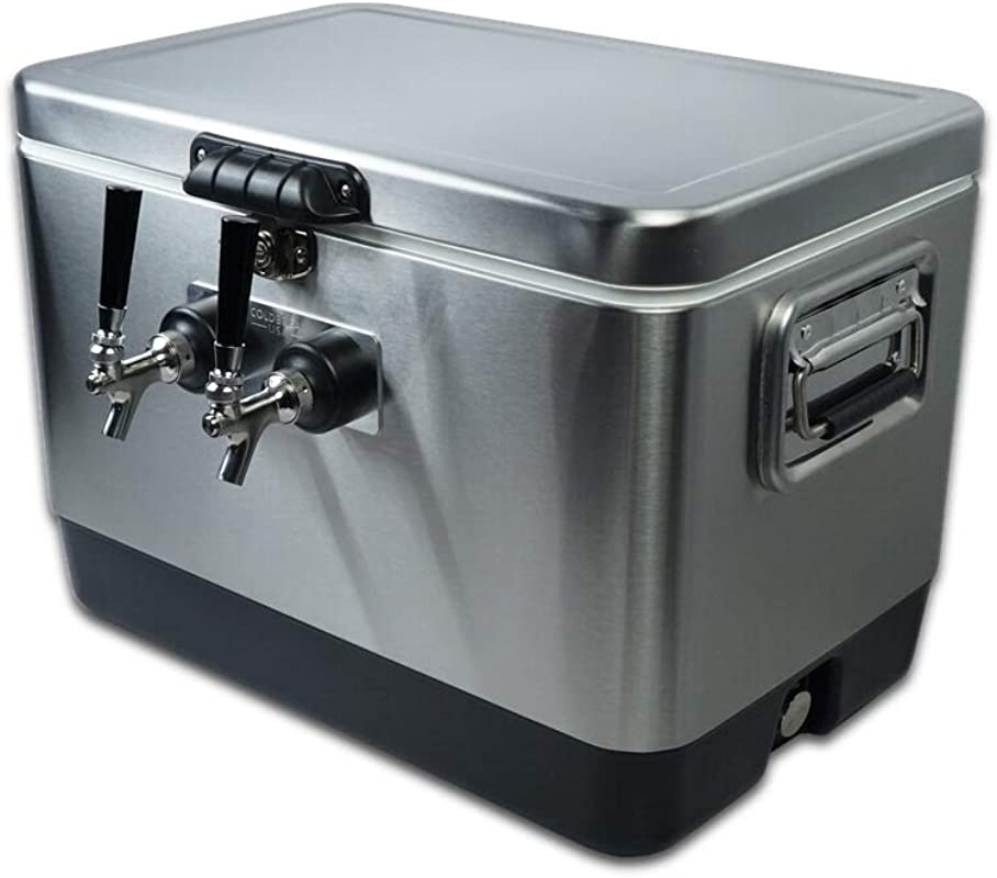 COLDBREAK 2TSPT Jockey Box 2 Taps Rear Inputs 54 Quart Cooler 50 Coils Steel Shanks Includes Stainless Faucets Silver