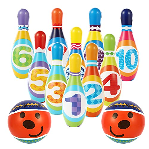 Hyrrt Kids Bowling Toy Set, Indoor Outdoor Bowling Games for Children Toddlers Boys Girls for Early Development Sport Preschool (10 Pins & 2 Bowling)