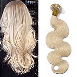 Elailite Extensiones Cabello Natural Cortina Pelo Humano Brasileño 100% Remy Rizado Brazilain Human Hair Bundles sin Clip 55cm 100g #60 Rubio Platino
