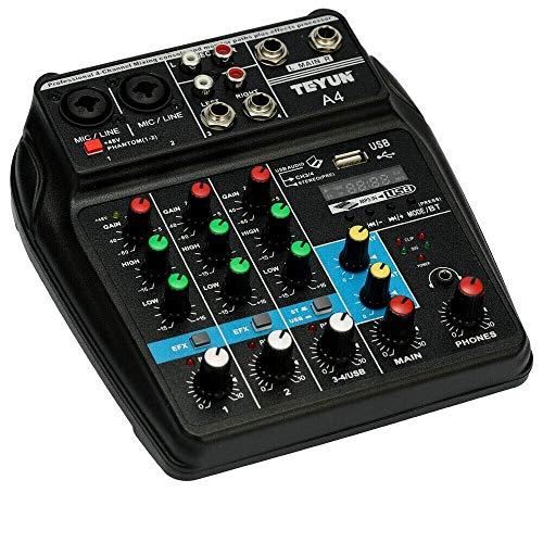 LIANGLEY Conjunto De Sistema De Mezclador De Micrófono De Karaoke Portátil, Cine En Casa, Amplificador, Altavoz,4 Canales con Bluetooth Fantasma 48V