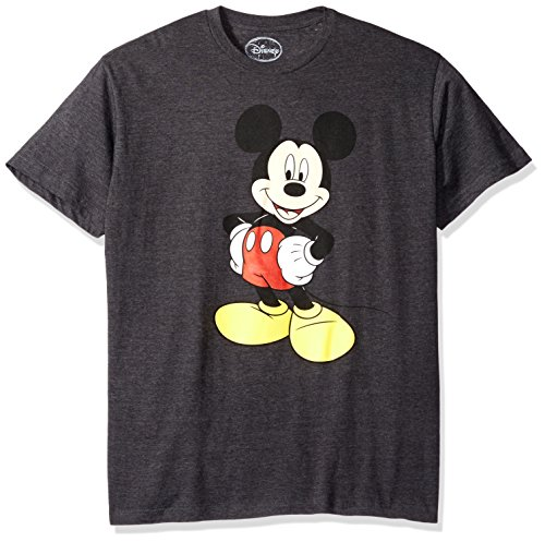 Disney Men's Mickey Wash Short Sleeve T-Shirt, Charcoal Heather, Medium