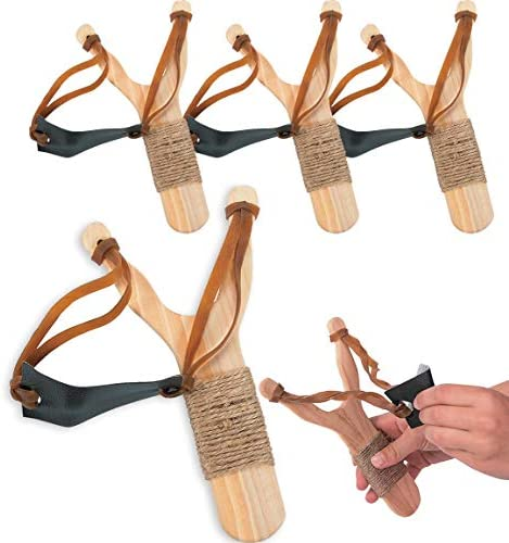 Wooden Slingshots Classic Toy for Kids 4 Pack Sling Shot product image