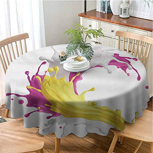Colorful Round Solid Polyester Tablecloth Mixed Fruit Drink Splash Photo Strawberry Banana Milk Sweet Fountain Wrinkle Free Tablecloths Pink Yellow and White 50 INCH