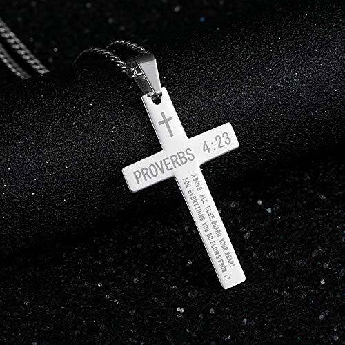 xtszlfj Collar Cruzado para Hombre Proverbsc 4:23 Colgante Collar de Cadena de Oro Cadena de Moda de Acero Inoxidable en el Cuello joyería 2020 Collar