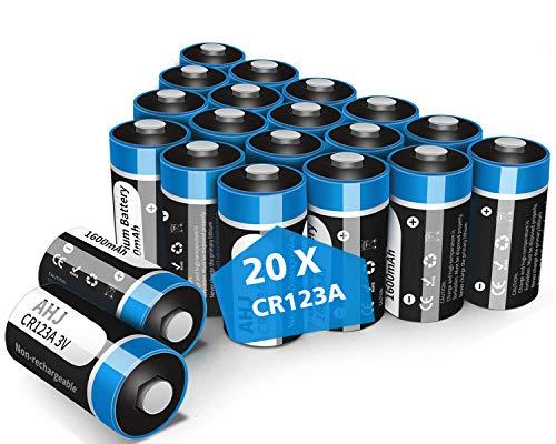 AHJ 20er Pack CR123A Batterien, CR17345 3V Lithium 1600mAh Batterie für Taschenlampe, Intelligente Instrumentierung, Alarmanlagen [Nicht wiederaufladbar, Nicht für Arlo]