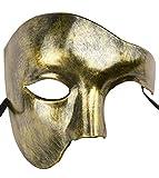 KEFAN Mens Mask Masquerade Mask Phantom of The Opera Half Face Mask (Gold)