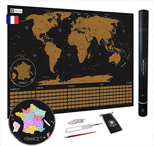 amazama Mapa del mundo para rascar en francés XXL con banderas, detallado y preciso para los viajeros – Póster grande de 82 x 58 cm – Accesorios incluidos