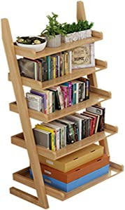XBSD Wooden Bookshelf  5-Tier Bookcase and Storage Rack  Wood Look Accent Furniture  Suitable for Home Office  Bathroom  Living Room Wood color