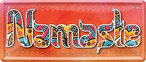 Namaste Yoga 28 x 12 cm divertido cartel decorativo de chapa 962