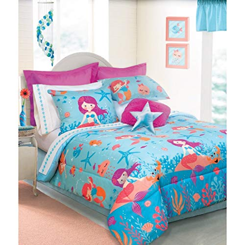 D.I.D. 3 Piece Girls Blue Orange Pink Mermaid Themed Comforter Full Queen Set, Under Water Sea Life Creature Bedding, Vibrant Fun Mermaids Rock Star Fish Coral Reef Pattern, Polyester