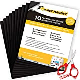 Magnetic Sheets with Adhesive Backing - 10 PCs Each 4' x 6' - Flexible Magnetic Paper for Craft and DIY - Peel and Stick Magnet Sheets for Picture and Photo Magnets