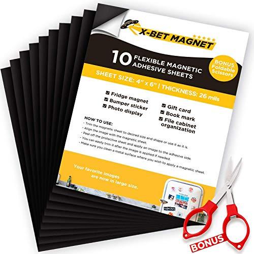 Feuilles Magnétiques avec Support Adhésif - 10 PC de 10 cm x 15 cm chacun – Papier Magnétique Souple pour Artisanat et Bricolage - Feuilles Magnétiques et Adhésives pour Aimants D'images et de Photos