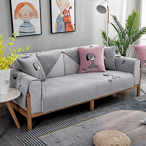 Homeen Salón Funda de sofá,Corner Sofa Slipcover,Living Room Fabric Sofa Seat Covers,for 1/2/3/4/5 Seater Sofa,Cojines de sofá Bordados de Terciopelo-Gris_Los 70×120cm