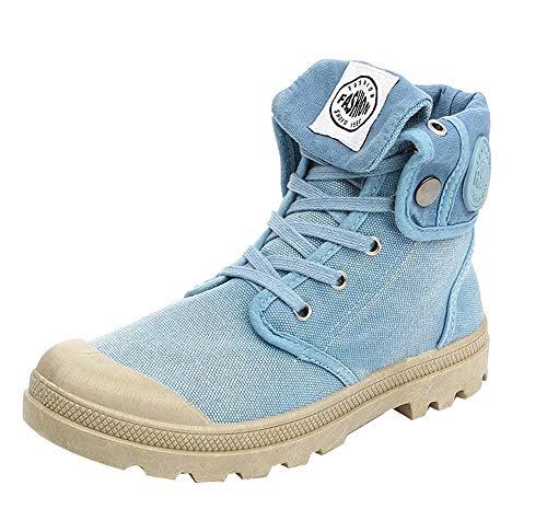 DEELIN Damen Stiefel Palladium Weise High top Militär Knöchel beschuht beiläufige Schuhe (41, Blau)