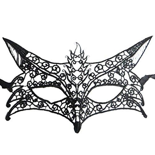 Funpa masker van zwart kant, nachtmasker voor feestjes en wandeltochten Eén maat Zwart 4