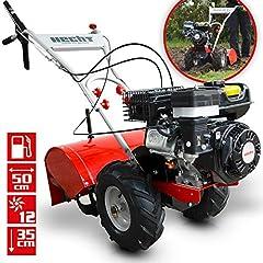 HECHT bensin trädgårdsfräs 750 motor hoe kultivtor golv hoe mark fräs fräs fräs fräsfräsmaskin (motoreffekt: 4,7 kW (6,5 hk), 50 cm arbetsbredd, 4 gyroskop med 3 knivar vardera)