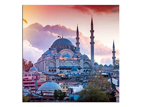 Kunst-discounter Istanbul Moschee Wandbild A06254 - Tela Leinwandbild quadratisch auf Keilrahmen Format 90 x 90 cm