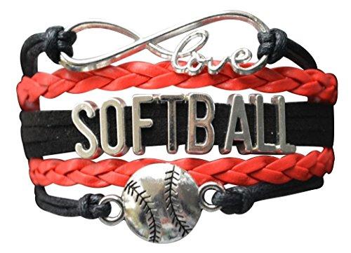 Softball Bracelet- Softball Love Infinity Jewelry for Softball, Softball Mom or Softball Team