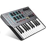 MIDI Keyboard Controller DMK25, Donner Professional 25 Key Synthesizer Mini USB Beat Pad con 8 Drum Pad retroilluminati 4 Manopole 4 Cursori di controllo, Nero
